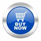 buy now blue circle chrome web icon isolated