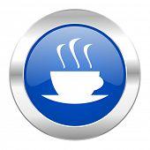 espresso blue circle chrome web icon isolated