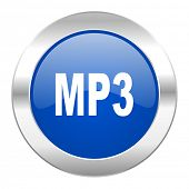 mp3 blue circle chrome web icon isolated