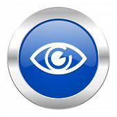 eye blue circle chrome web icon isolated