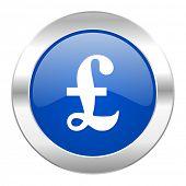pound blue circle chrome web icon isolated