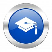 education blue circle chrome web icon isolated