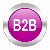 b2b violet circle chrome web icon isolated
