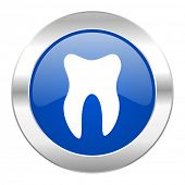 tooth blue circle chrome web icon isolated