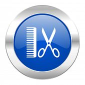 barber blue circle chrome web icon isolated