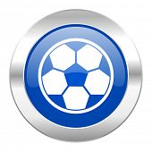 soccer blue circle chrome web icon isolated