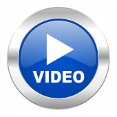 video blue circle chrome web icon isolated