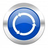 refresh blue circle chrome web icon isolated