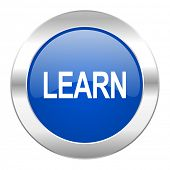 learn blue circle chrome web icon isolated