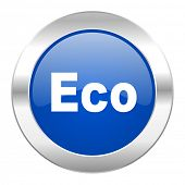eco blue circle chrome web icon isolated