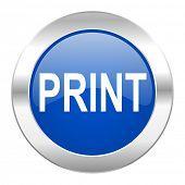 print blue circle chrome web icon isolated