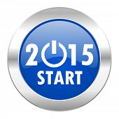 new year 2015 blue circle chrome web icon isolated