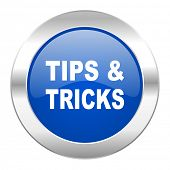 tips tricks blue circle chrome web icon isolated