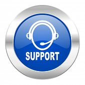 support blue circle chrome web icon isolated