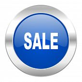 sale blue circle chrome web icon isolated
