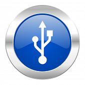 usb blue circle chrome web icon isolated