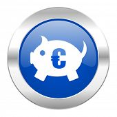 piggy bank blue circle chrome web icon isolated