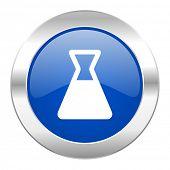 laboratory blue circle chrome web icon isolated