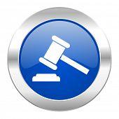 auction blue circle chrome web icon isolated
