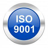 iso 9001 blue circle chrome web icon isolated