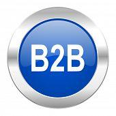 b2b blue circle chrome web icon isolated
