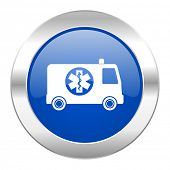 ambulance blue circle chrome web icon isolated