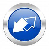 exchange blue circle chrome web icon isolated