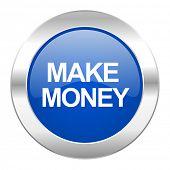 make money blue circle chrome web icon isolated