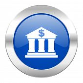 bank blue circle chrome web icon isolated