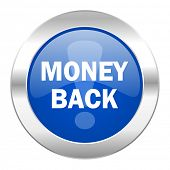 money back blue circle chrome web icon isolated