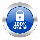 secure blue circle chrome web icon isolated