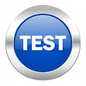 test blue circle chrome web icon isolated