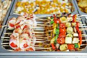 catering food background with snacks in restaurant at event party
