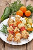 Chicken Shish Kebab On Wooden Table