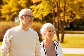 family, age, tourism, travel and people concept - senior couple walking in city park