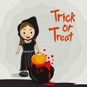 Little witch with pumpkin and blood pot for Trick Or Treat party celebration on stylish grey background.