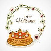 Happy Halloween party celebration poster, banner or background with Halloween cake.