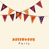 Poster, banner or flyer for Halloween party celebration with Halloween bunting on beige background.