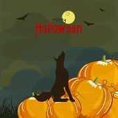 Poster, banner, invitation or background for Happy Halloween party celebration with pumpkin and scary fox.