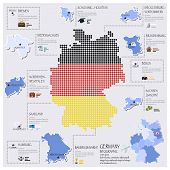 Dot And Flag Map Of Germany Infographic Design