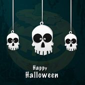 Poster, banner or invitation for Happy Halloween Party celebration with hanging spooky skulls.