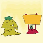 Cartoon of monster holding a yellow board for Halloween concept on shiny yellow background.