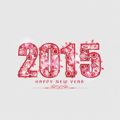 Floral design decorated stylish text on grey background for Happy New Year 2015 celebrations.