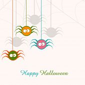 Poster, banner or invitation for Halloween party celebration with hanging colorful spiders.