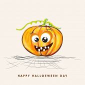 Halloween party celebration with scary smiling pumpkin on stylish beige background.