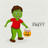 Poster or banner design for Halloween Party with scary boy holding a pumpkin with candy on grey back