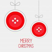 Two Hanging Red Button Ball With Bow Dash Line Thred Applique Merry Christmas Card Flat Design