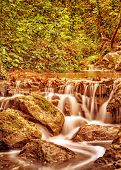 Waterfall in the autumn park, little mountainous wild river streaming in the forest, beauty of natur