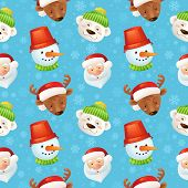 Christmas characters seamless pattern