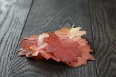 Autumn Red Oak Leaves On Old Oak Table
